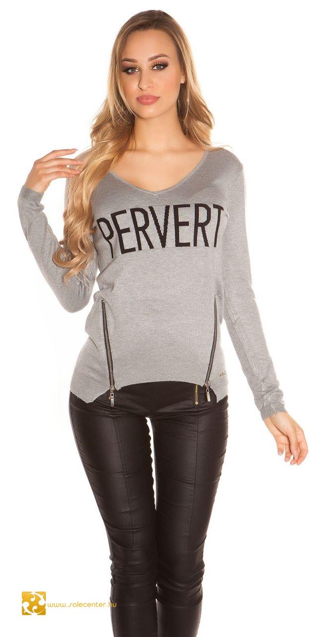 """""""PERVERT"""" feliratú kötött pulóver cipzárral 5 színben"""