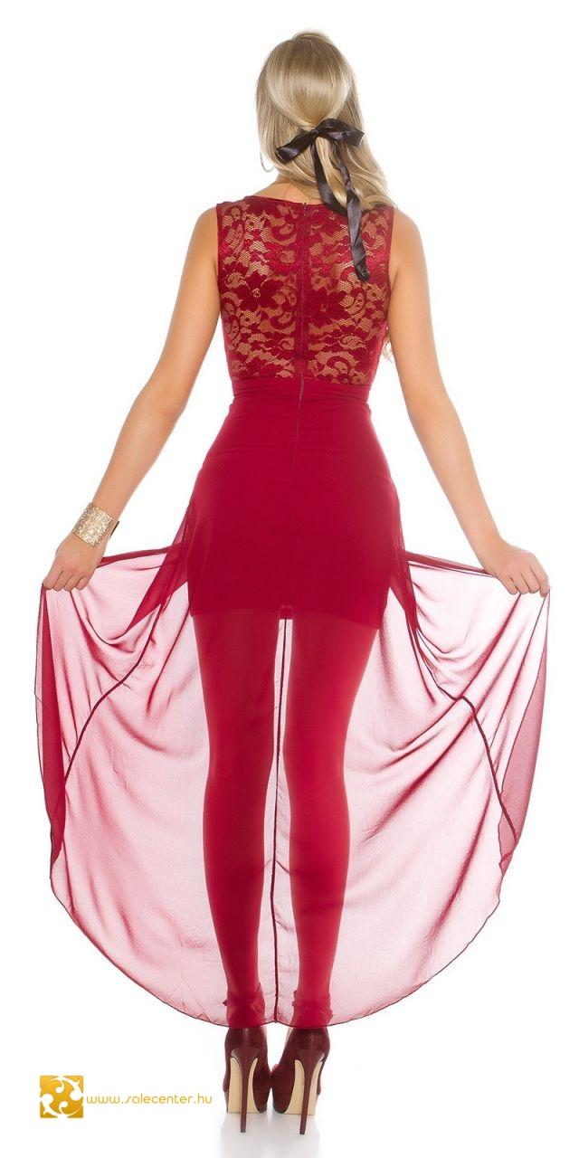 Aszimmetrikus estélyi ruha csipkés felsőrésszel 4 színben (S,M,L,XL)