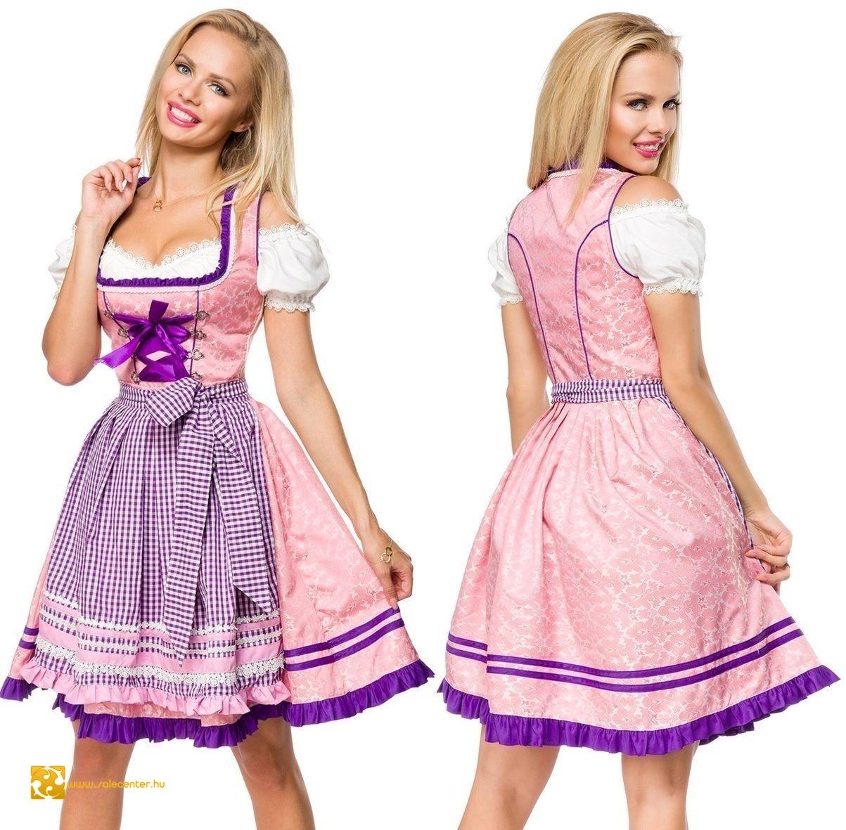 Lila-rózsaszín kockás bajor ruha (XS,S,M,L,XL,2XL,3XL)